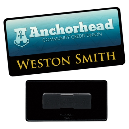 "Picture of 3"" x 1-1/2"" Combo Metal Name Tag - Good Value (R)"