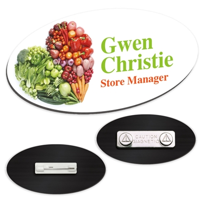 "Picture of 3"" x 1-1/2"" Oval Plastic Name Tag"