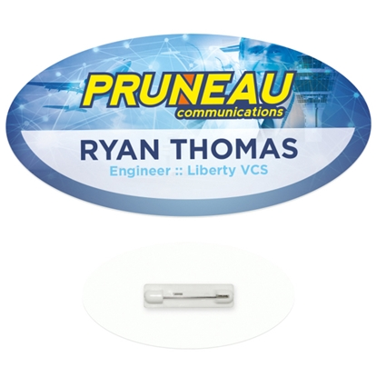 "Picture of 3"" x 1-1/2"" Oval Economy Name Tag - Good Value (R)"