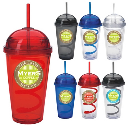 Picture of Dome Tumbler with Curly Straw - 18 oz