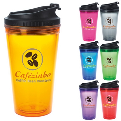 Picture of Colored Tumbler with Black Lid - 18 oz