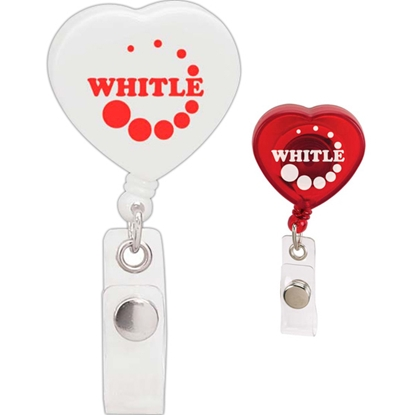 Picture of Caring Heart Retractable Badge Holder - Good Value (R)