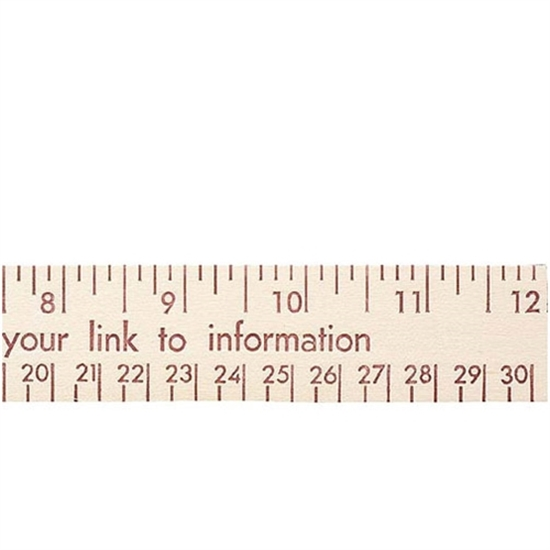 """Picture of 12"""" Natural Finish Flat Wood Rulers - English & Metric Scale"""