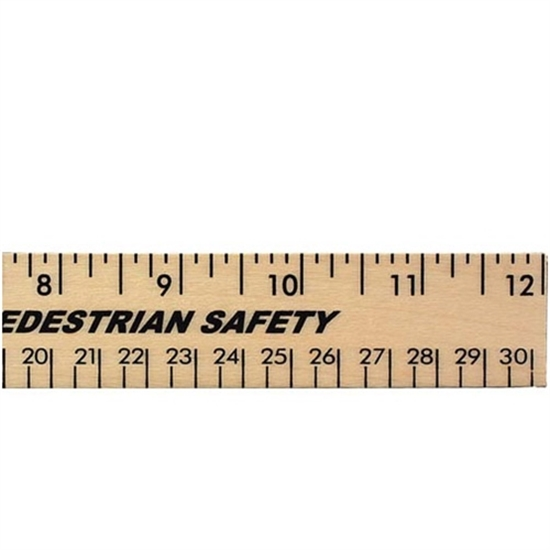 """Picture of 12"""" Clear Lacquer Beveled Wood Rulers"""