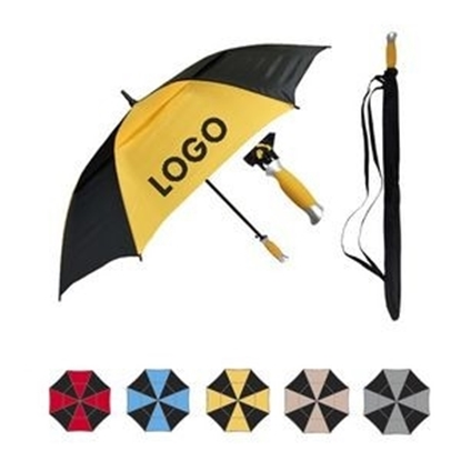 "Picture of Auto Open Golf Umbrella w/ Matching Fabric Color Rubber Handle (60"" Arc)"