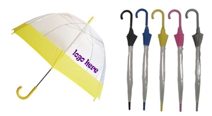 "Picture of Eco Friendly Clear Bubble Umbrella with Colored Trim (50"" Arc)"