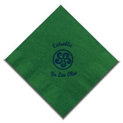 "Picture of 5"" X 5"" Green 2-Ply Beverage Napkins"