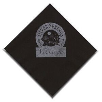 "Picture of 5"" X 5"" Black 2-Ply Beverage Napkins"