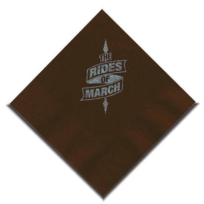 "Picture of 5"" X 5"" Chocolate Brown 2-Ply Beverage Napkins"