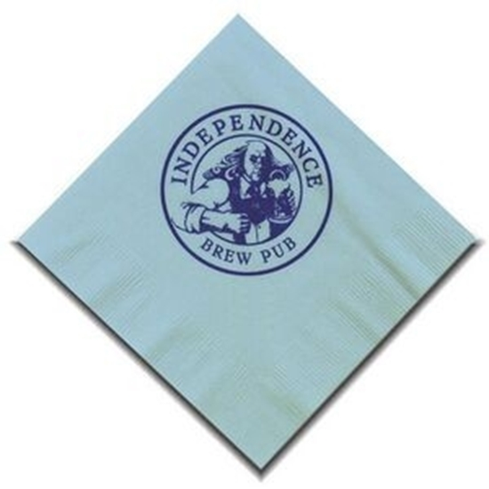 """Picture of 5"""" X 5"""" Light Blue 2-Ply Beverage Napkins"""