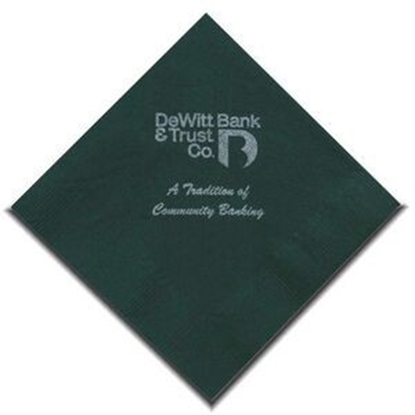 "Picture of 5"" X 5"" Hunter Green 2-Ply Beverage Napkins"