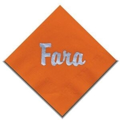 "Picture of 5"" X 5"" Orange 2-Ply Beverage Napkins"