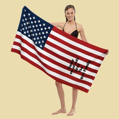 Picture of Stock Fiber Reactive Print US Flag Beach Towels