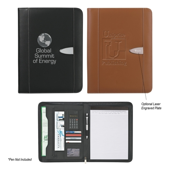 Bonded Leather 8 1 2 X 11 Zipper Portfolio With Calculator