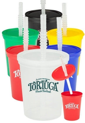 16 oz. Plastic Stadium Cups with Lid and Straw