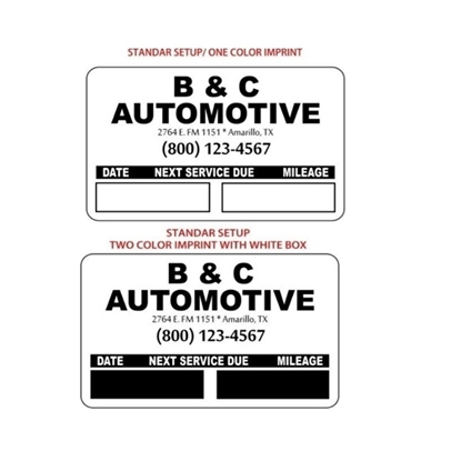 Custom Static Cling Oil Change Stickers
